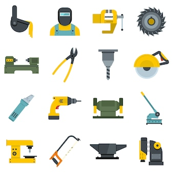 Metal working icons set