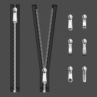 Metal zip fasteners, silver zippers with differently shaped puller and open or closed black fabric tape, clothing hardware isolated on transparent background, realistic 3d illustration, set