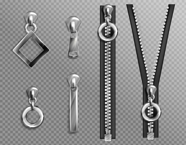Metal zip fasteners, silver zippers with differently shaped puller and open or closed black fabric tape, clothing hardware isolated