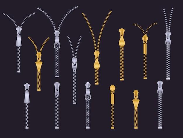 金属製のジッパー。プラスチック製の金属製ジッパー。ゴールドシルバーのオープンジッパーとクローズドジッパー。スチール製の洋服のプルアクセサリーをカスタマイズします。孤立した留め金