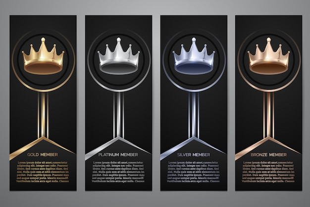 Metalic crown in black banner, gold, platinum, silver, bronze, illustration.