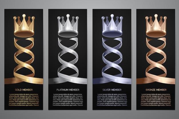 黒のバナー、ゴールド、プラチナ、シルバー、ブロンズ、イラストの金属の王冠。