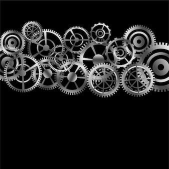 Sfondo di ingranaggi metallici in diverse forme e dimensioni