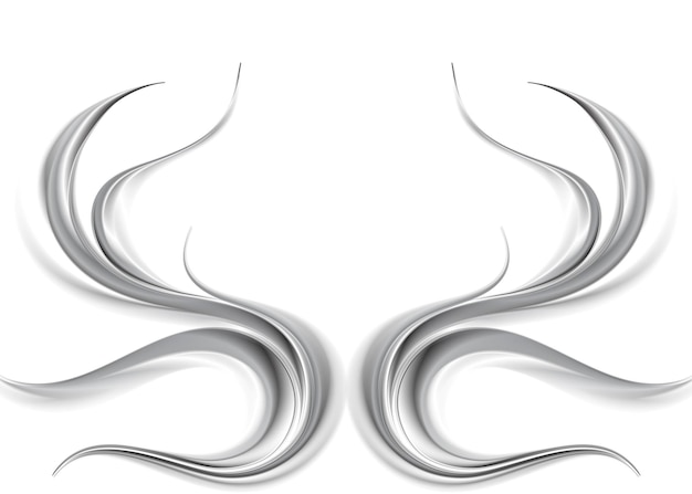 Metallic abstract waves on white background. vector illustration