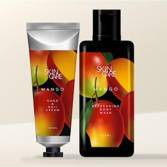 Metallic aluminum beauty or toiletries tube & rectangular black flip cap bottle packaging with tropical mango illustration print.