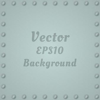 Metallic background of steel textured plate with rivets and text.