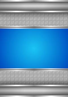 メタリックな背景テクスチャ、青い空白