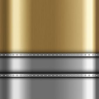 Металлический фон с золотым и серебряным металлом