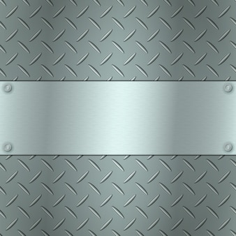 Metallic background with tread plate texture and steel textured plate for your text.