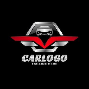 Металлический значок автомобильный векторный логотип шаблон 02