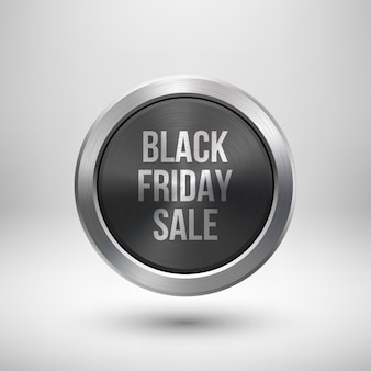 Metallic black fiday sale badge