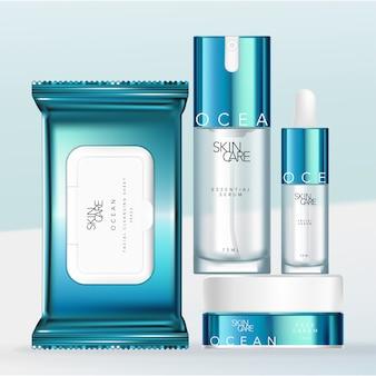Metallic blue & white design упаковочный набор для косметики, косметики и косметики с бутылкой для пипетки или пипетки, пакетом из ткани или чистящего средства, бутылочкой с насосом и банкой.