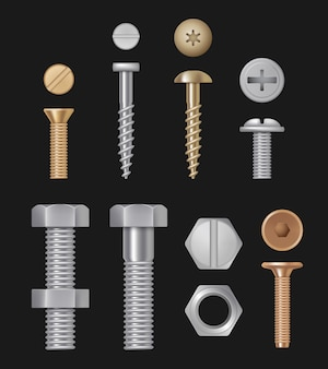 Metallic bolts and screws, construction hardware silver repair tools, realistic setisolated