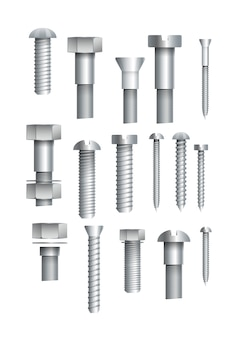 Metallic bolts and screws isolated set