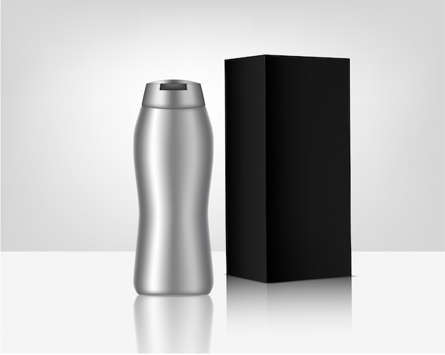 Metallic bottle mock up with packaging