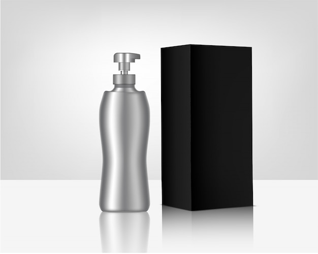Metallic bottle pump realistic organic cosmetic and box for skincare product