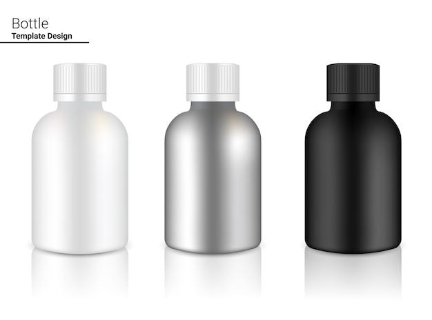 背景イラストのメタリックボトルリアルな飲み物や薬の商品。ヘルスケアと医療。