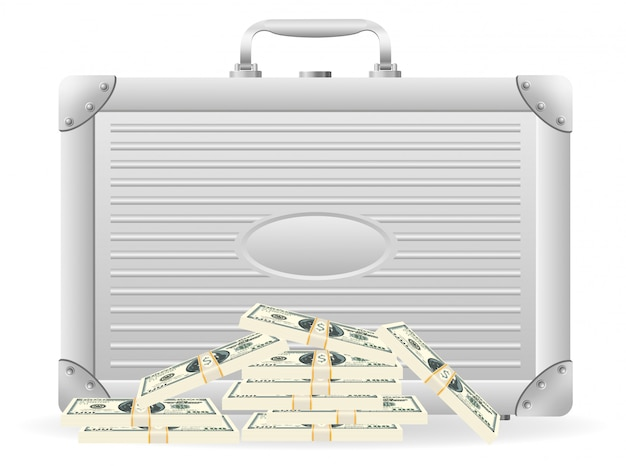 Metallic briefcase with packed dollars.