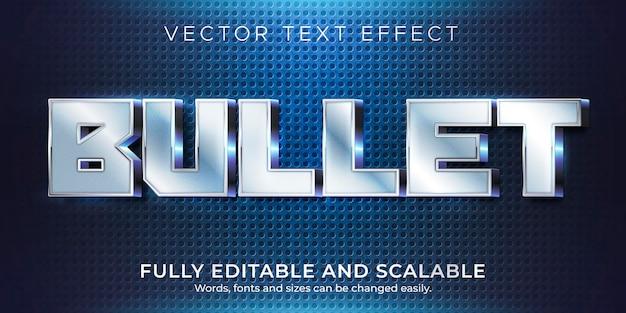 Эффект металлической пули, редактируемый блестящий и элегантный стиль текста