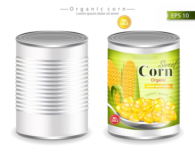 Metallic canned corn mockup