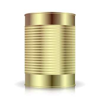 Metallic cans vector. food tincan ribbed metal tin can, canned food. blank for your design.