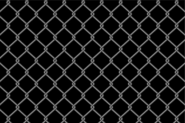 Metallic chain link fence pattern on black background