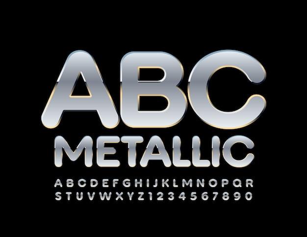 Металлические шикарные буквы алфавита и цифры. стильный серебряный шрифт