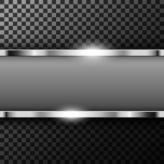 Metallic chrome banner with text space