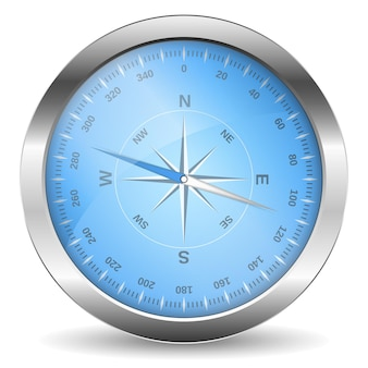 Metallic compass on white background, illustration