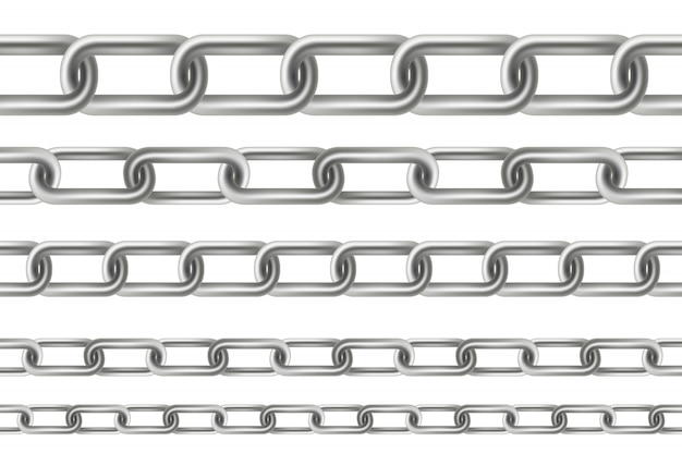 Metallic dangling chain links seamless metal.