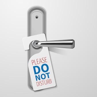 Metallic door handle with do not disturb white black vector