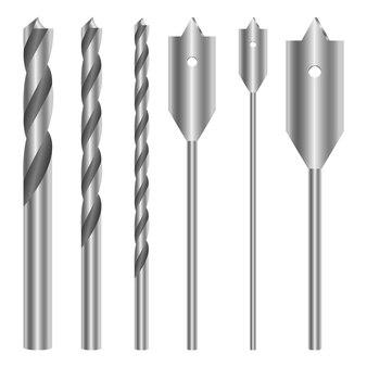 Metallic drill set design illustration isolated on white background