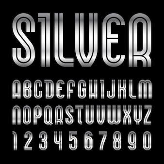 Металлический шрифт. модный алфавит, серебряные буквы