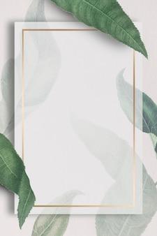 桃の枝模様のソーシャルテンプレート付きのメタリックフレーム