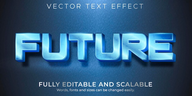 Металлический текстовый эффект будущего, редактируемый блестящий и элегантный стиль текста