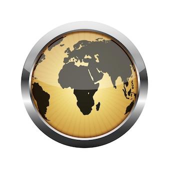 地球儀のイラストが付いている金属の光沢のあるボタン