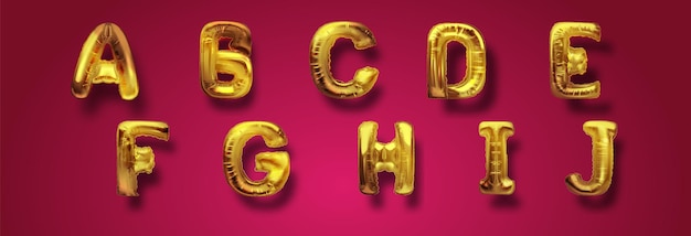Металлические золотые воздушные шары abc, золотая буква алфавита. воздушные шары типа золота для текста, письма, нового года. реалистичный набор 3d вектор. буквы от a до j