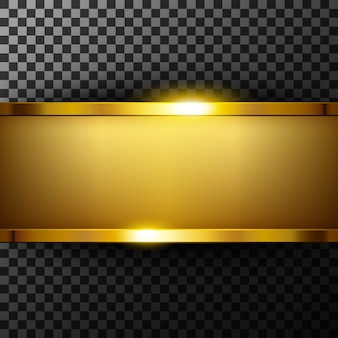 Metallic gold banner with text space