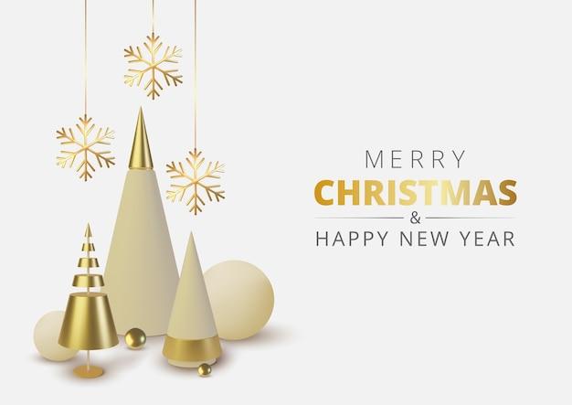 Металлическая золотая новогодняя елка. реалистичный абстрактный фон с конусом, сферой и снежинкой.