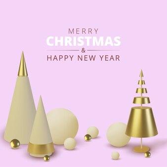 メタリックゴールドのクリスマスツリー。と現実的な抽象的な背景。グリーティングカード、新年あけましておめでとうございますとクリスマスの招待状