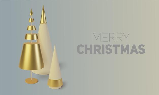 Металлическая золотая новогодняя елка. реалистичный абстрактный фон с. открытка, приглашение с новым годом и рождеством.