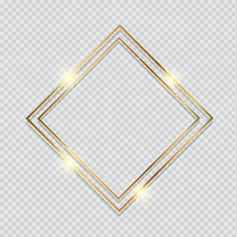 Metallic gold frame on a transparent styled background