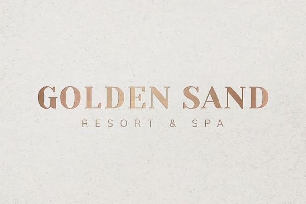 Metallic gold logo template vector for spa business