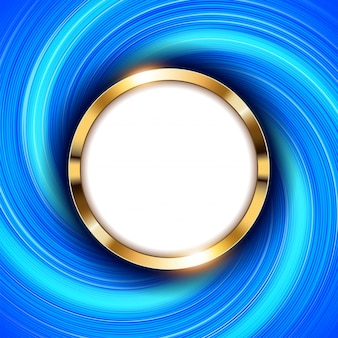 Metallic gold ring with text space and swirl blue light