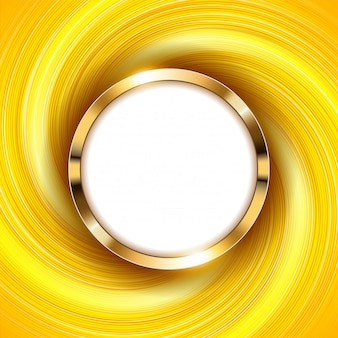 Metallic gold ring with text space and swirl yellow light