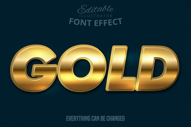 Metallic gold text effect, shiny gold alphabet style