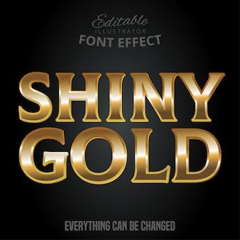 Metallic gold text effect, shiny gold alphabet style