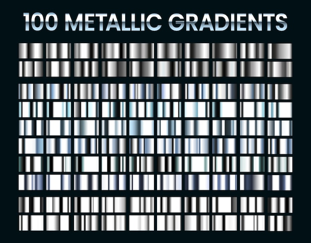 Metallic gradients. shiny silver gradient, platinum and steel metal material colors.