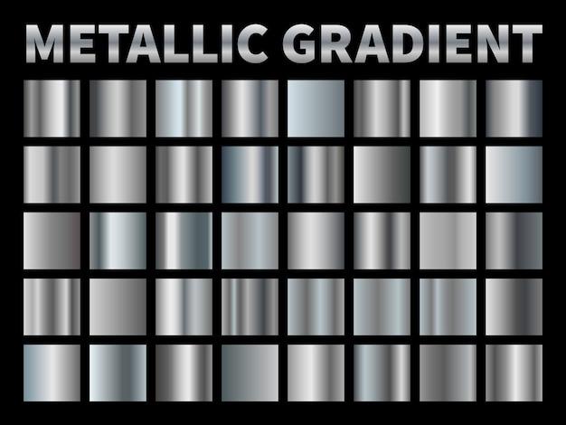 금속 그라디언트. 실버 호 일, 회색 반짝이 금속 그라데이션 테두리 리본 프레임, 반사와 알루미늄 반짝이 크롬. 세트