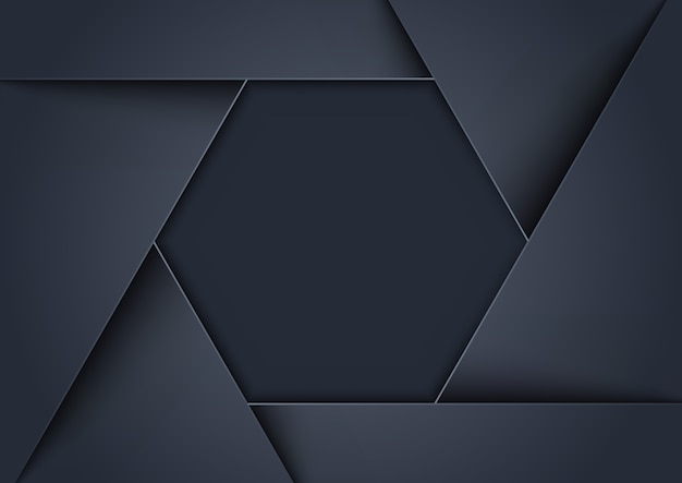 Metallic gray background formed as hexagonal shape